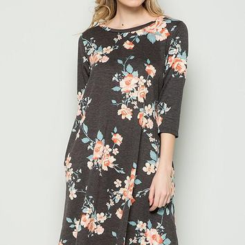 French Terry Floral Dress with Pockets- Charcoal
