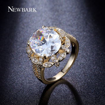 NEWBARK Luxury 18K Gold Plated Round Shape 5 carat Cubic Zirconia Studded Halo Oval Cut Engagement Ring For Women 2 Colors