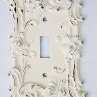Vintage Metal Wall Decor-Light Switch Cover-In Creamy Ivory Shabby Chic-Single Switch Cover-Vintage Roses-Ornate-Distressed-Spring Flowers