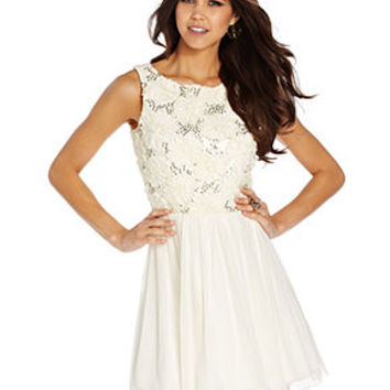 Speechless Juniors Dress, Sleeveless Sequin Rosette Chiffon - Juniors Dresses - Macy's