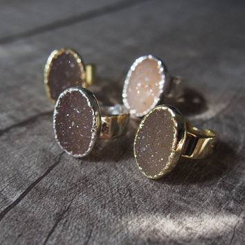 Earth Tone Agate Druzy Ring Oval Gemstone Ring Gold Plated Ring Gemstone Ring Golden Size 7