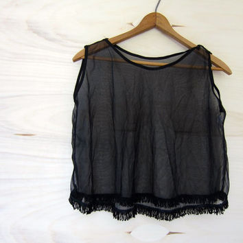 Sheer FRINGED tank top Womens SEXY Lingerie body fringe burlesque Camisole Minimal Modern Pin Up Blouse Boxy Cropped Fit Small Medium