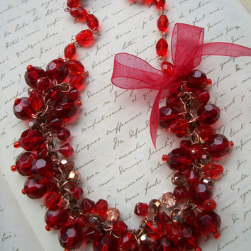 SALE!!! A Holiday Affair Statement Necklace - Ruby Red Clusters and Ribbon - Vintage Inspired, Sparkle, Party Wear, Glamour