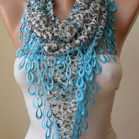 SALE SALE - Perforated Scarf -  Light Blue Scarf with Light Blue Trim Edge