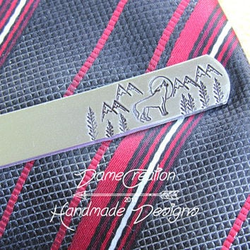 Mountain Tie Clip, Wolf Tie Clip, Personalized Tie Clip, Custom Tie Bar, Groomsman Gift, Groom Gift, Gift for Dad, Bestman GIft