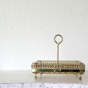 vintage metal caddy // mid century modern table caddy / vintage serving / punched metal dish // vintage trinket dish // vintage footed caddy