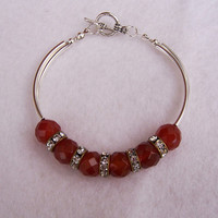 Carnelian, Rhistone Vintage rings, Silver tone Curved Tubes Bangle Bracelet, Handmade Jewelry, Gemstone Bracelet, UK Seller