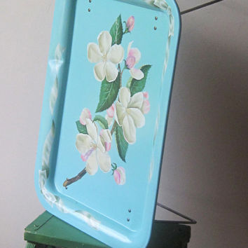 Vintage Hand Painted Tole Tray With Legs / Vintage Bed Tray