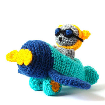 Airplane and Cat Toy - Plane and Cat Plush - Amigurumi