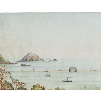 Antique Seascape The Mewstone Breakwater Mt Edgecombe Watercolor Painting