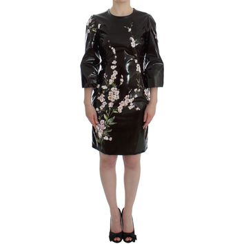 Dolce & Gabbana Black floral 3/4 Sleeve sheath dress