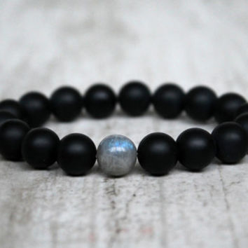 Minimalist men bracelet Agate Labradorite beads Urban bracelet Trendy jewelry Men gift Bracelet for groom Father gift Birthday friend gift