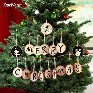 Ourwarm 20pcs Christmas Tree Hanging Ornaments 5-6cm Round Wood Slice Nature Wooden Gift Tag Christmas Decorations for Home