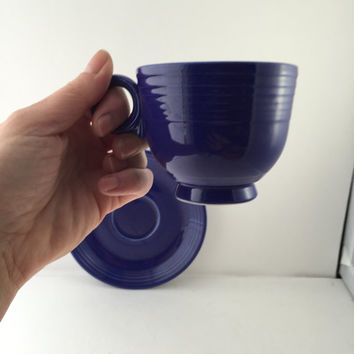 Fiesta Cup and Saucer, Cobalt Blue Fiestaware, Fiesta Ring Handle Cup, Homer Laughlin, Vintage Fiesta-ware Dishes