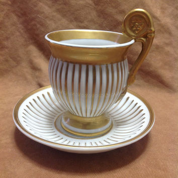 Antique Meissen Germany Collectible Greco-Roman White and Gold Porcelain Cup and Saucer