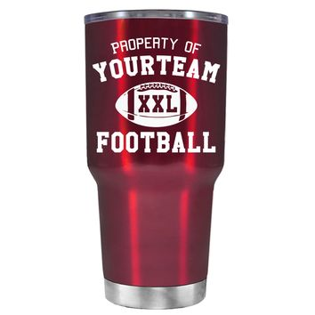 TREK Custom Property of Team Football on Translucent Red 30 oz Tumbler Cup
