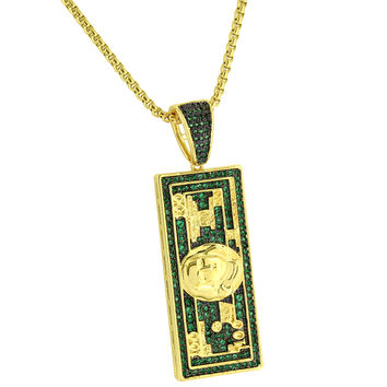 Hundred 100 Dollar Bill Pendant Green Simulated Diamond Gold Finish Free Chain