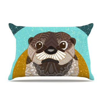 """Art Love Passion """"Otter in Water"""" Blue Brown Pillow Sham"""