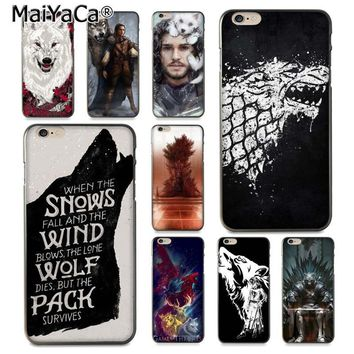 MaiYaCa Game Thrones Wolf  Novelty Fundas Phone Case Cover for iPhone 8 7 6 6S Plus X 10 5 5S SE 5C Coque Shell