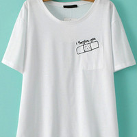 Wound Paste Embroidered Short Sleeve T-Shirt with Pocket