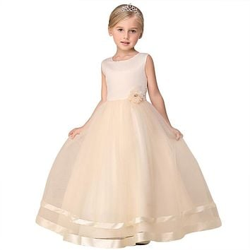Teenage Girl Formal Party Dress Champagne Tulle Long Evening Dress For Girls Prom Gown Designs Children's Clothing Girl Size 10