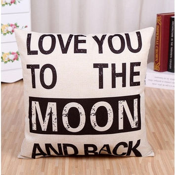 """Love You to the Moon and Back"" Cotton Linen Pillow Cover 45*45cm (Size: 45cm*45cm, Color: Beige)"
