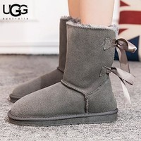 UGG New fashion women solid color bow-knot fur keep warm shoes boots