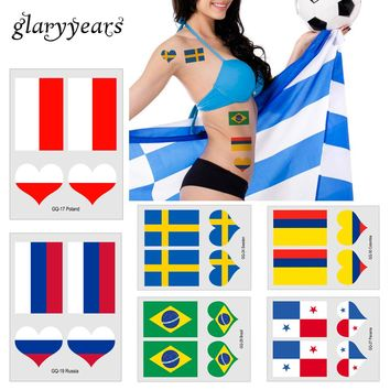 6cm*8cm glaryyears 10 Sheets Russia World 2018 Cup National Flag Tattoo for Soccer Football Games Fans Temporary Tattoo Stickers