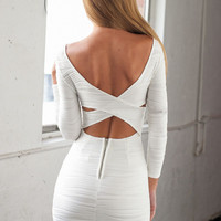 White Cross Back Mini Bodycon Dress
