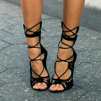 Women Pumps Brand Designer High Heels Cut Outs Lace Up Open Toe Party Shoes Woman Gladiator Sandals Women Ladies Zapatos Mujer