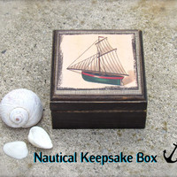 Nautical distressed Sailboat Keepsake Box - Beach Wedding Ring Box - Sea Shell Container - Rustic Beach House Decor