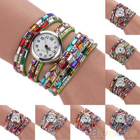 Woman Exotic Multi-Layers Colorful Beads Crystals Quartz Bracelet Wrist Watch = 1932064516