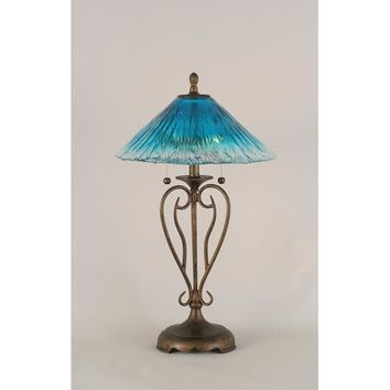 Toltec Lighting 42-BRZ-715 Olde Iron Bronze Two-Light Table Lamp with Teal Crystal Glass Shade