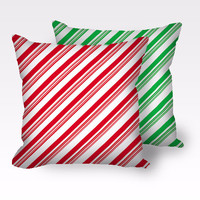Candy Cane Christmas Throw Pillow in red or green