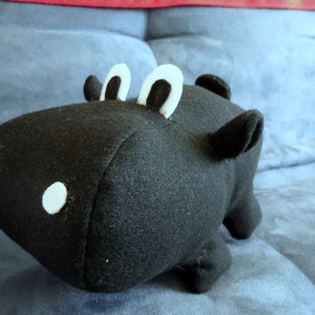Handmade Plush Hippo (medium sized, black or white felt plushie)