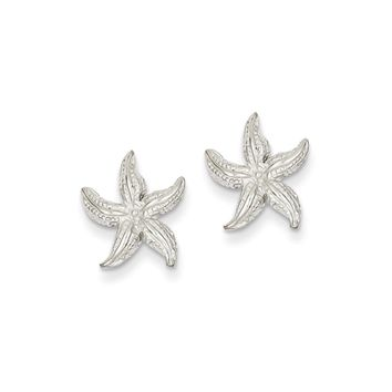 13mm Polished Textured Starfish Post Earrings in 14k White Gold