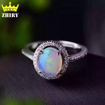 Natural opal gems ring Genuine Solid 925 sterling silver precious stone size 7*9mm woman fine colored stones jewelry