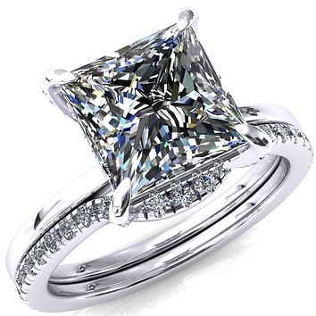 Rosy Princess/Square Moissanite 4 Claw Prong Single Rail 3/4 Micropave Engagement Ring