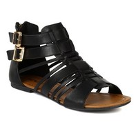 Soda BK40 Women Leatherette Open Toe Strappy Gladiator Buckles Flat Sandal - Black