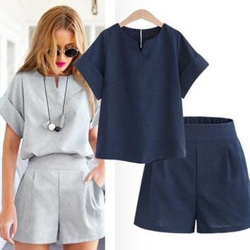 Bohemian  Women Summer Casual Cotton Linen V-neck short sleeve tops + shorts two piece set Female Office Suit Set Women's Costumes