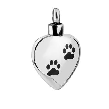Stainless Dog Paw Heart Cremation Ash Urn Keepsake Memorial Pendant Silver