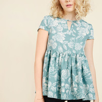 Rest and Reflection Peplum Top | Mod Retro Vintage Short Sleeve Shirts | ModCloth.com