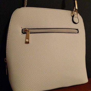 DCCKLO8 Michael Kors Hamilton MK Signature White Shoulder Crossbody Purse Bag