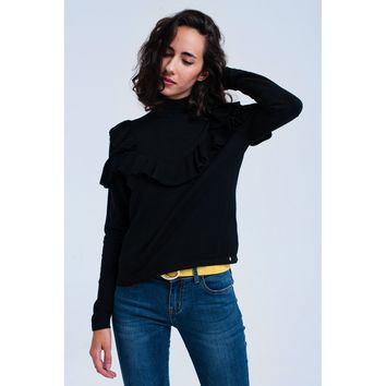 Black sweater with ruffle
