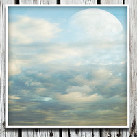 Surreal Photography, Clouds Photo, Moon Print, Large Wall Art, Blue White, Nursery Decor, Bedroom Art