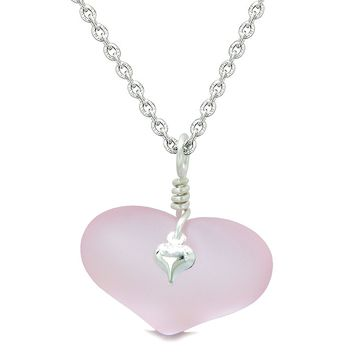 Unique Puffy Heart Frosted Sea Glass Cute Pink Life and Positive Powers Amulet 22 Inch Necklace