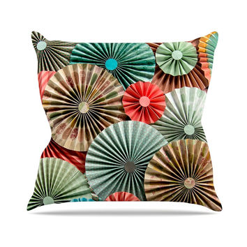 "Heidi Jennings ""Sherbert"" Teal Brown Outdoor Throw Pillow"