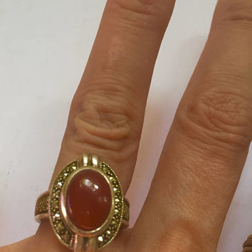 Art Deco Style Ring - carnelian marcasite ring - size 9 1/2 ring - carnelian cabochon ring - 925 silver - troppobella