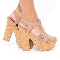 Spring Up Laser Cut Heels In Taupe
