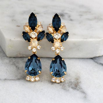 Blue Navy Earrings, Dark Blue Bridal Earrings, Navy Blue Chandelier Earrings, Blue Navy Champagne Swarovski Earrings, Bridal Drop Earrings